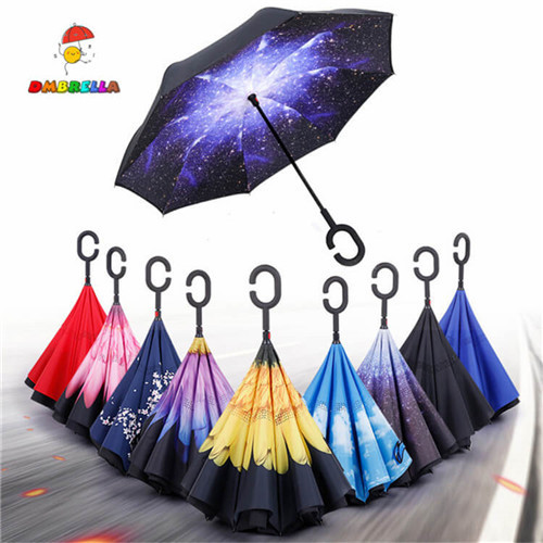 Double Layer Inverted Umbrellas with Myasthenia Gravis Awareness Warrior Print Reverse Folding Umbrella for Car