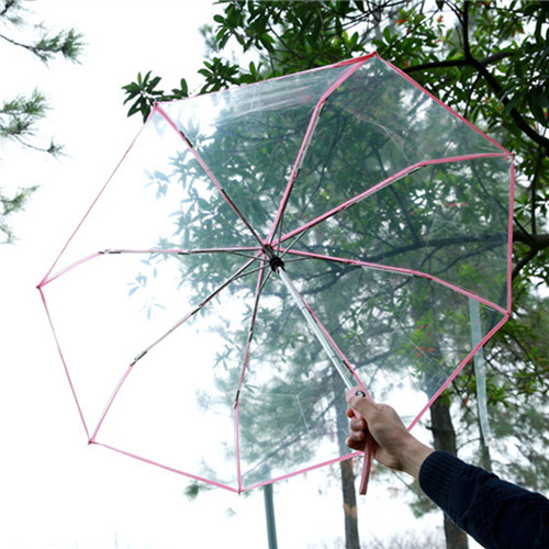 772f90110333 Auto open close transparent 3 Folding Clear Umbrella