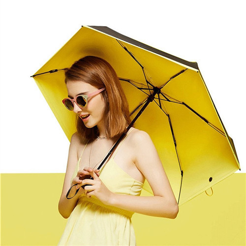 Amazon Hot Sell Sun Protection Vinyl Pocket Mini 5 Fold Folding Umbrella