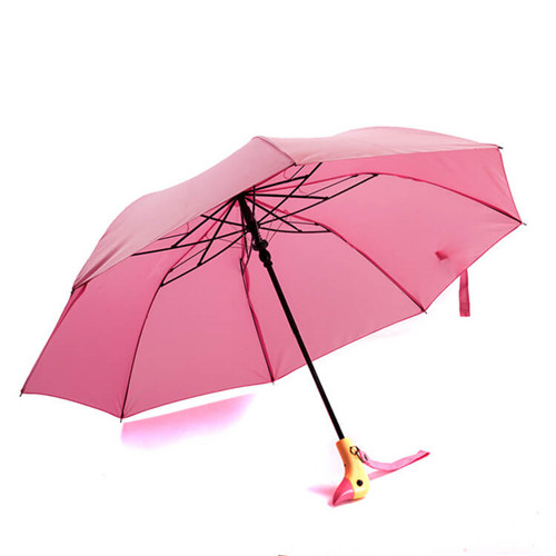 Wooden Lovely Automatic Dual Folding Duck Head Umbrella