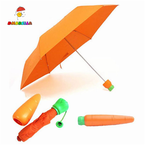 Children Kids Cartoon Carrot Three Folding Umbrella