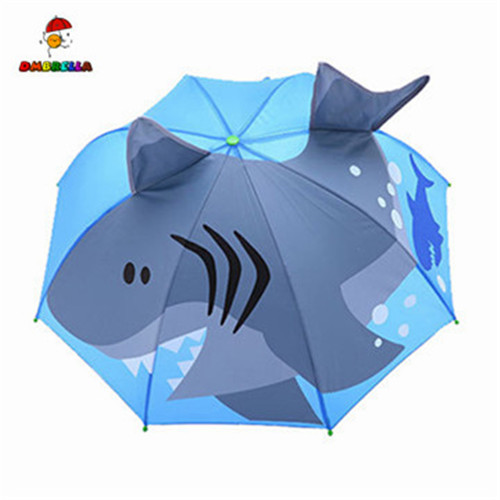 Creative Long-handled Shark Princess 3D Ear Kids Umbrellas