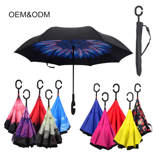 Upside Down Windproof Rainproof Long-Handle Reverse Umbrella