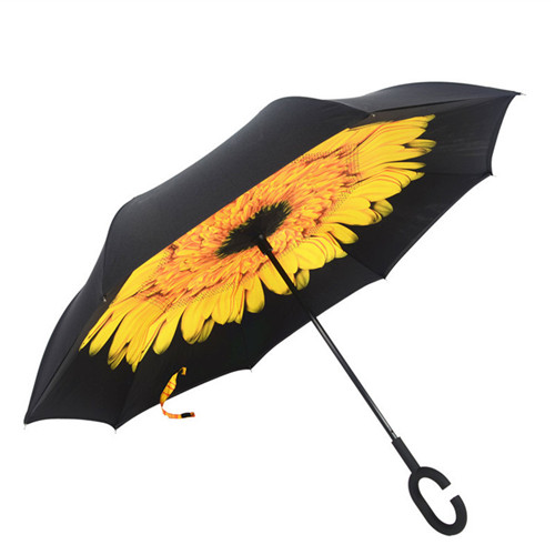 C Shape Handle Rain Folding Inverted Umbrella