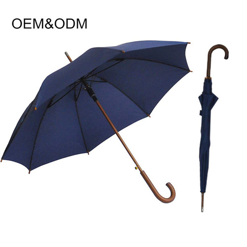 Wooden crooked handle customized good quality gentleman straight umbrella