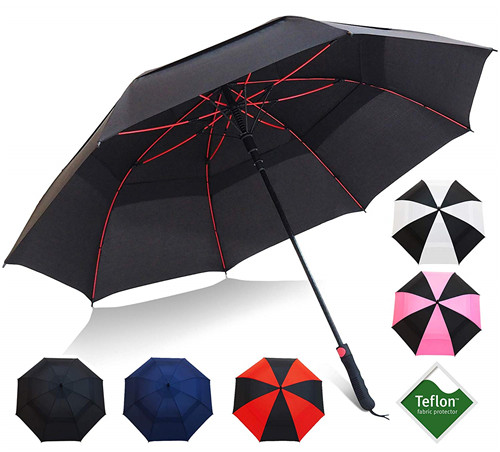 60inch Double Canopy Teflon Coating Auto Open Golf Umbrella with Triple Layered Reinforced Fiberglass Ribs