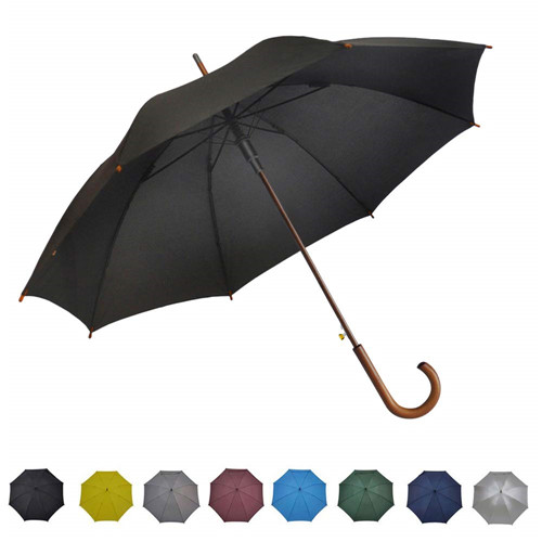 Automatic Open Curved Wooden Hook Handle Stick Umbrella